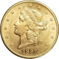 1897 $20 Gold Liberty Double Eagle - BU Detail (Brilliant Uncirculated) - Light Hairlines