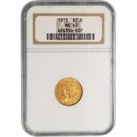 1913 $2 1/2 Indian Gold Quarter Eagle - NGC MS 63