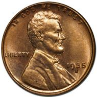 1935 S Lincoln Wheat Penny - Brilliant Uncirculated