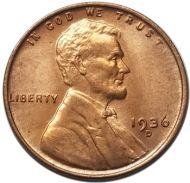 1936 D Lincoln Wheat Penny - Brilliant Uncirculated