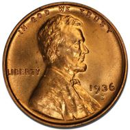 1936 S Lincoln Wheat Penny - Brilliant Uncirculated
