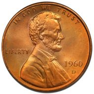 1960 D Lincoln Memorial Penny - Brilliant Uncirculated
