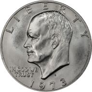 1973 S Eisenhower Dollar - Brilliant Uncirculated - 40% Silver