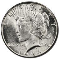 1924 Peace Dollar - (BU) Brilliant Uncirculated