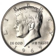 1969 D Kennedy Half Dollar - Brilliant Uncirculated