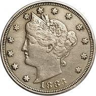 1883 Liberty Nickel w/o Cents - XF (Extra Fine)