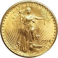 1924 $20 Gold St. Gaudens Double Eagle - AU (Almost Uncirculated)