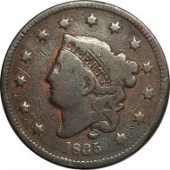 1835 Large Cent - F Detail (Fine) - Reverse Damage