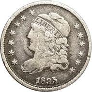 1835 Half Dime - F (Fine) - Small Date & 5 C.